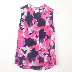 Cynthia Rowley | Floral Silk Work Blouse Tank Top